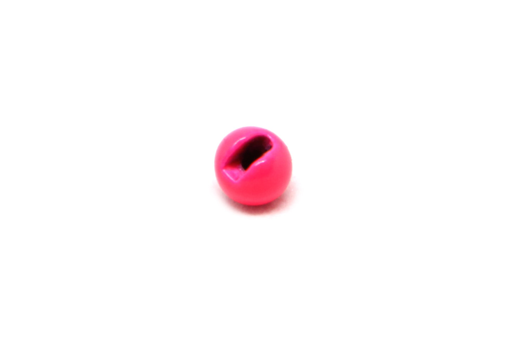 Painted Fluo Pink Slotted Tungsten Beads