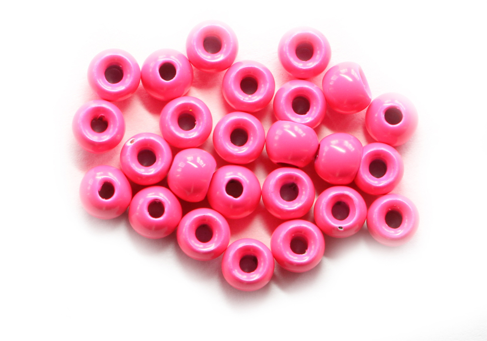 Fluorescent Pink Painted Tungsten Beads